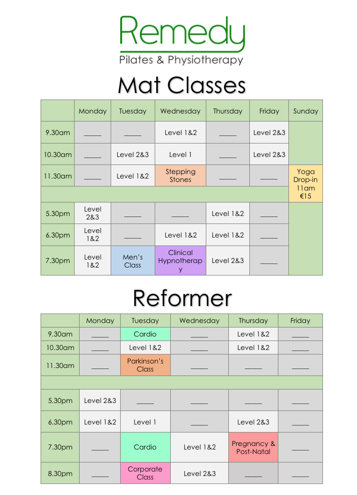 Timetable - white background