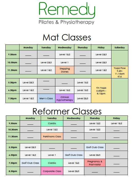Remedy Pilates & Physiotherapy Class Timetable